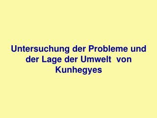 Untersuchung der Probleme und der Lage der Umwelt  von Kunhegyes
