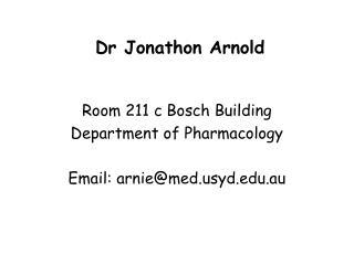 Dr Jonathon Arnold