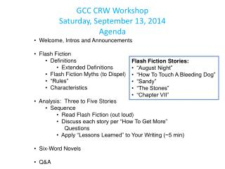 GCC CRW Workshop Saturday, September 13, 2014 Agenda