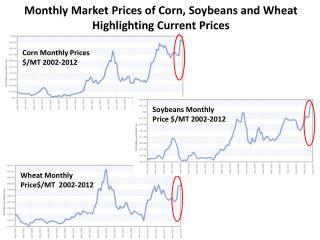 Corn  Monthly Prices  $/ MT 2002-2012
