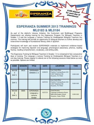 ESPERANZA SUMMER 2013 TRAININGS  ML0183 & ML0184
