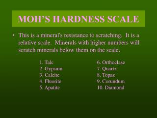 MOH S HARDNESS SCALE