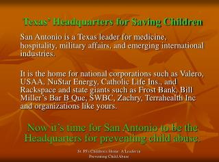 Texas' Headquarters for Saving Children