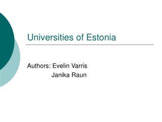 Universities of Estonia