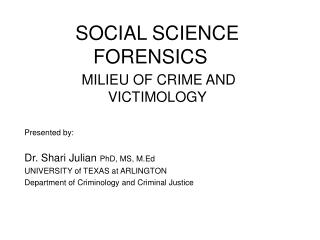 SOCIAL SCIENCE FORENSICS