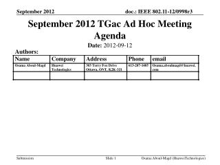 September 2012 TGac Ad Hoc Meeting Agenda