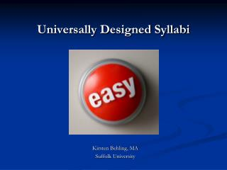 Universally Designed Syllabi