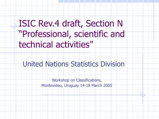 ISIC Rev.4 draft, Section N �Professional, scientific and technical activities�