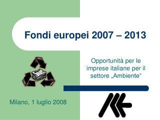 Fondi europei 2007   2013