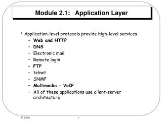 Module 2.1:   Application Layer