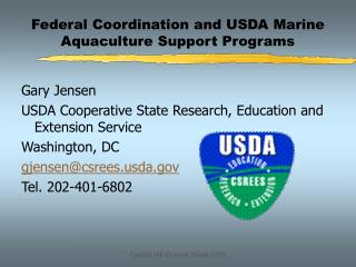 Federal Coordination and USDA Marine Aquaculture Support Programs