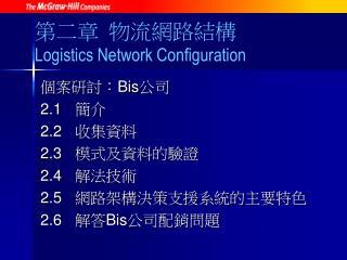 第二章 物流網路結構 Logistics Network Configuration