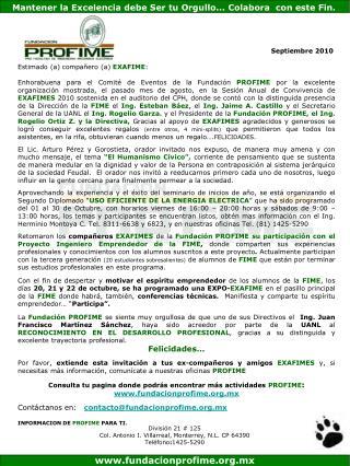 Estimado (a) compa�ero (a)  EXAFIME :