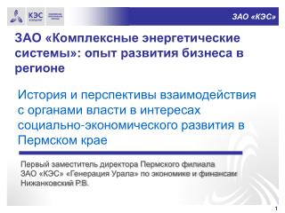 ЗАО «Комплексные энергетические системы»: опыт развития бизнеса в регионе