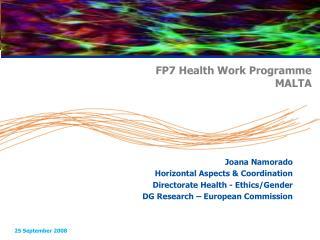 FP7 Health Work Programme  MALTA