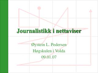 Journalistikk i nettaviser