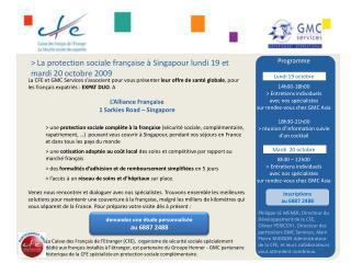 > La protection sociale française à Singapour lundi 19 et mardi 20 octobre 2009