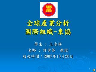 全球產業分析 國際組織 - 東協