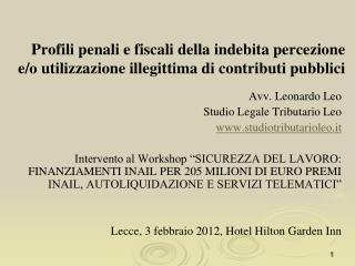 Avv. Leonardo Leo Studio Legale Tributario Leo studiotributarioleo.it
