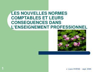 LES NOUVELLES NORMES COMPTABLES ET LEURS CONSEQUENCES DANS L'ENSEIGNEMENT PROFESSIONNEL