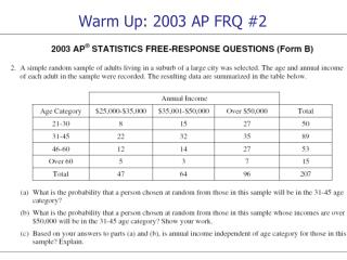 Warm Up: 2003 AP FRQ #2