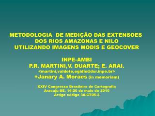 METODOLOGIA  DE MEDIÇÃO DAS EXTENSOES  DOS RIOS AMAZONAS E NILO