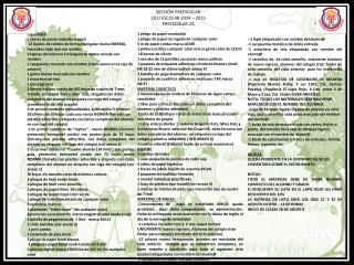 SECCIÓN PREESCOLAR CILO  ESCOLAR 2014 – 2015 PREESCOLAR 2A
