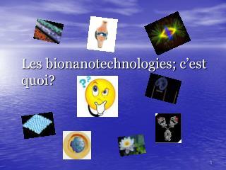 Les bionanotechnologies; c'est quoi?