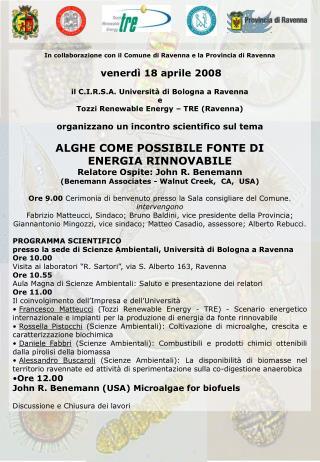 In collaborazione con il Comune di Ravenna e la Provincia di Ravenna