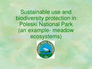 Sustainable use and biodiversity protection in Poleski National Park an example- meadow ecosystems