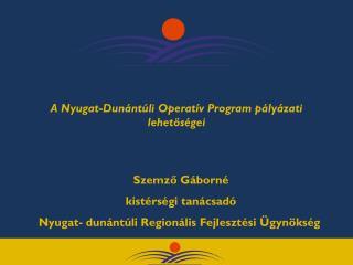 A Nyugat-Dunántúli Operatív Program pályázati lehetőségei