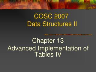 COSC 2007  Data Structures II