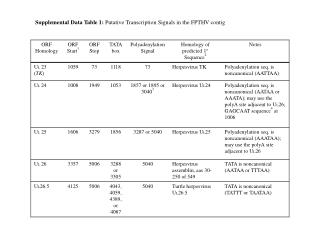 Supplemental Data Table 1:  Putative Transcription Signals in the FPTHV contig