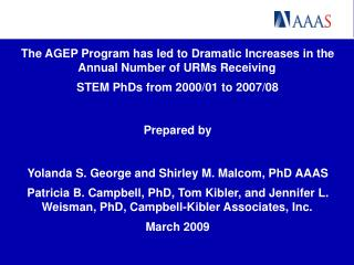 The AGEP Program has led to Dramatic Increases in the Annual Number of URMs Receiving