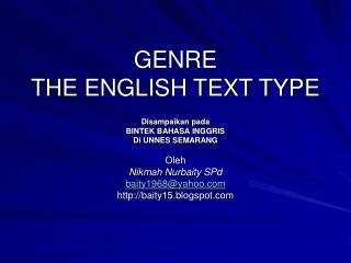 GENRE THE ENGLISH TEXT TYPE