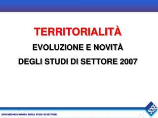 TERRITORIALIT À EVOLUZIONE E NOVIT À DEGLI  STUDI DI SETTORE 2007