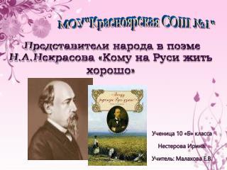 Представители народа в поэме Н.А.Некрасова «Кому на Руси жить хорошо»
