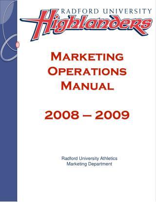 Marketing  Operations Manual 2008 – 2009