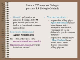 Licence STS mention Biologie,  parcours L3 Biologie G n rale