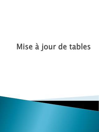 Mise à jour de tables