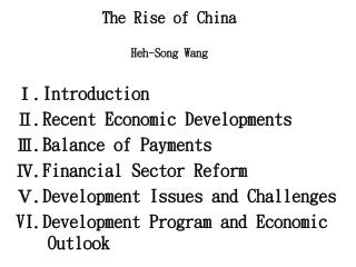 The Rise of China Heh-Song Wang
