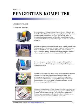 Modul 1 PENGERTIAN KOMPUTER 1. PENGERTIAN DASAR 1.1. Pengertian Komputer