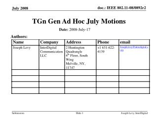 TGn Gen Ad Hoc July Motions