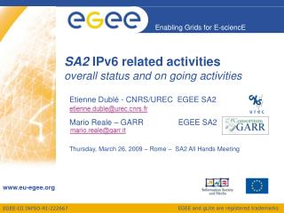 SA2  IPv6 related activities overall status and on going activities