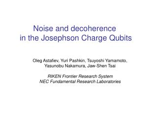 Noise and decoherence  in the Josephson Charge Qubits