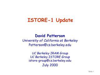 ISTORE-1 Update
