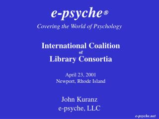 e-psyche  Covering the World of Psychology
