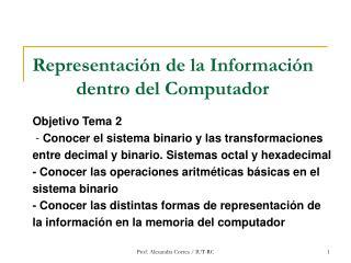 Representación de la Información dentro del Computador