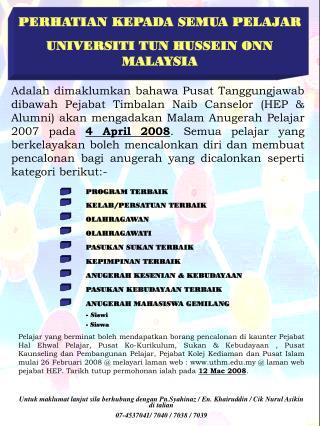 PERHATIAN KEPADA SEMUA PELAJAR UNIVERSITI TUN HUSSEIN ONN MALAYSIA