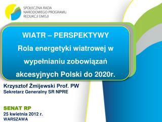 Krzysztof Żmijewski Prof. PW Sekretarz  Generalny SR NPRE SENAT RP 25 kwietnia 2012  r . WARSZAWA